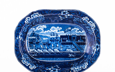 Staffordshire Historical Blue Transfer-decorated Landing of General Lafayette at Castle Garden, New York, August, 1824 Vegetable Bowl