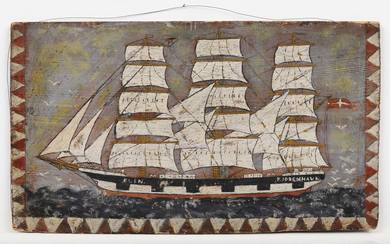 THE SAILING VESSEL Elin, Denmark, painted on wood, early 20th century.