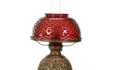 Table Lamp, Cranberry Hobnail Shade