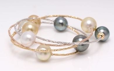 Tahiti and South Sea pearls in 18k Tricolour gold