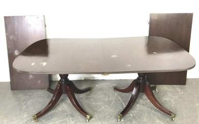 """Twin Pedestal Mahogany Dining Table with one 22"""" leaf"""