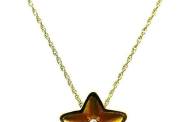 VINTAGE 14k Yellow Gold & Diamond Star Necklace