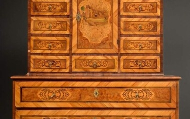 Viennese baroque chest of drawers with ornamental inlays and curved...