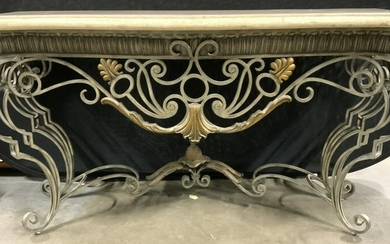 Vintage Marble Topped Ornate Iron Console Table