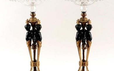 19TH C. EMPIRE STYLE GILT BRONZE CENTERPIECES