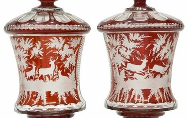 (2) BOHEMIAN RUBY-STAINED GLASS COVERED VASES