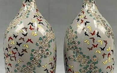 2 cloisonné vases. Gray-ground with birds.