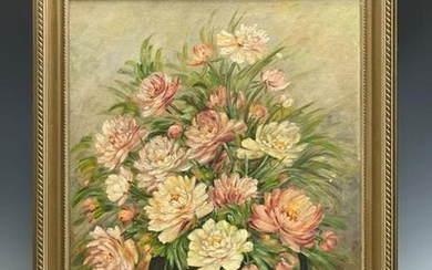 20th C. Pink Flowers in Vase Still life Signed H.