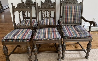 6 Jacobean Style Upholstered Turned Dining Chairs