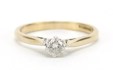9ct gold diamond solitaire ring, 0.25 carat, size L, 1.7g