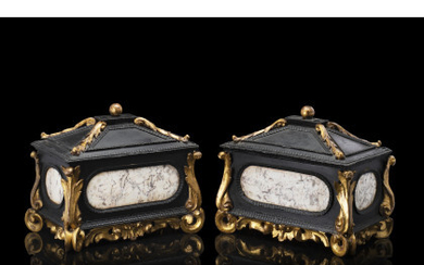A pair of 17th-century Tuscan ebonized and carved wooden caskets decorated with marble inserts (cm 34x27x20) (restorations)Read more