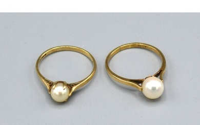 A 9ct. Gold Pearl Set Dress Ring together with another simil...