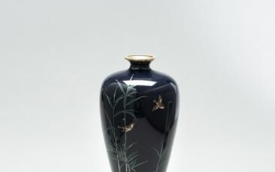 A CLOISONNÉ ENAMEL VASE WITH BAMBOO AND BIRDS