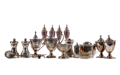 A COLLECTION OF SILVER AND PLATED CRUETS