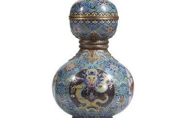 A Chinese cloisonné gourd-form vase, mounted as lamp 20th...