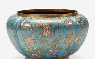 A Chinese turquoise ground lobed jardinière 铜胎松石绿地瓜棱盆