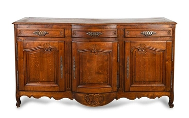 A Louis XV Provincial Style Carved Oak Buffet Height 43