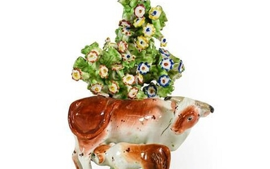 A Matched Pair of Derby Porcelain Cow and Calf Groups,...