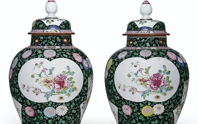 A PAIR OF BLACK-GROUND FAMILLE ROSE VASES