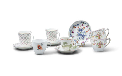 A PAIR OF RUSSIAN PORCELAIN COFFEE CUPS AND...