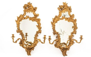 A Pair of Italian Carved Giltwood Girandole Mirrors