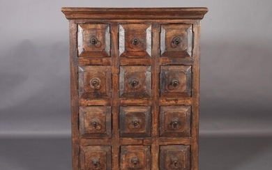 A Spanish chest of twelve small drawers, c.1970s, field pane...