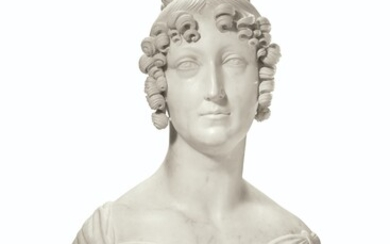 A WHITE MARBLE BUST OF A LADY