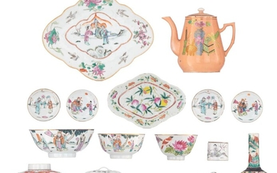 A collection of Chinese Republic period porcelain items, H 16,5 - 27 x 21,5 cm