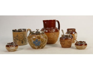 A collection of Doulton Lambethware: Comprising incised bird...