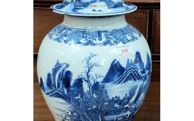 A large18th century Chinese Qianlong period blue and white i...