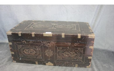 A part early 20th century ebonised, brass bound, and inlaid ...