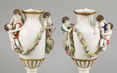A set of (2) porcelain vases decorated with flowers, ram heads and children, Sitzendorf, late...