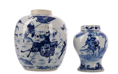 AN EARLY 19TH CENTURY CHINESE BLUE AND WHITE BALUSTER VASE AND ANOTHER