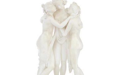 After Antonio Canova (Italian, 1757-1822): A late 19th Italian carved alabaster figural group of 'The Three Graces'