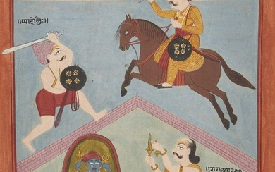 An illustration from an unusual Ragamala Series, India, Gujarat, circa 1800, opaque pigments on wasli paper, Raga Sindhori and Raga Agar, sons of Shri, with two men in swordfight, one on horseback, on a gabled brick roof, and below a priest holds a...