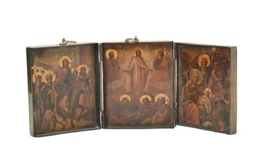 Brass Cased Russian Eastern Orthodox Traveling Triptych