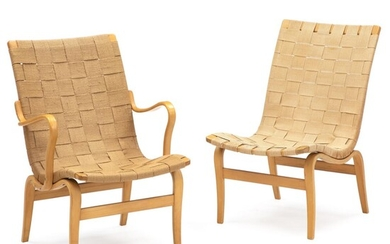 """Bruno Mathsson: """"Eva"""". Two chairs, of which one with armrests, with moulded beech frames stretched with sandcoloured linen webbing. (2) – Bruun Rasmussen Auctioneers of Fine Art"""