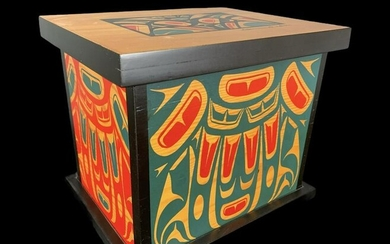 Clarence A. Wells Painted Haida Wooden Box