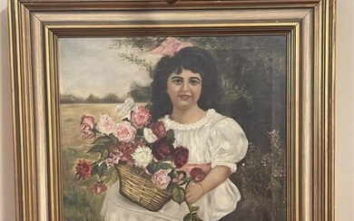 Continental School, 20th Century, Young Woman with Flower Basket, Framed with Picture Lamp, Oil on Canvas, 30-3/8 x 26-3/8 inches