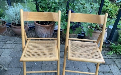 NOT SOLD. Danisk design: Two beech folding chairs with cane seats. H. 82. D. 37 cm. (2) – Bruun Rasmussen Auctioneers of Fine Art