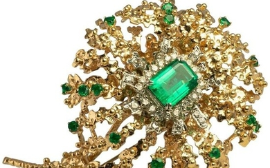 Diamond Emerald Brooch Floral Pendant 14K Gold