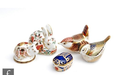 Five boxed Royal Crown Derby paperweights comprising Meadow ...