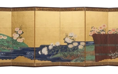 Folding Screen River and Flowers Scenery - Byobu - Room Divider Late Edo - Meiji Period - 6 panels