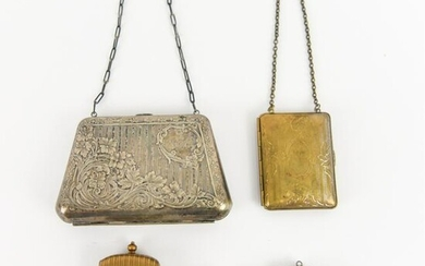 GROUPING OF ANTIQUE COMPACTS & CASES