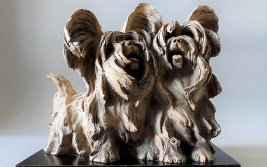 GUIDO CACCIAPUOTI (1892-1953) Dogs Terracotta dogs sculpture on wood basis...