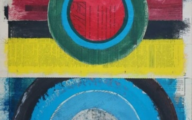 George Holt (British 1924-2005) Three Abstract Mixed Media Works Circular Forms