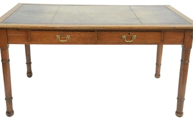 George IV Oak Writing Table, with inset tooled leather