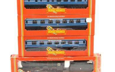 Hornby OO gauge model railways, two locomotives and three passenger coaches.