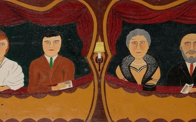 J. RAS (XXe)The Balcony of the OperaOilon panel.Signed lower right.(Small missing and cracked panel).28 x 67 cm