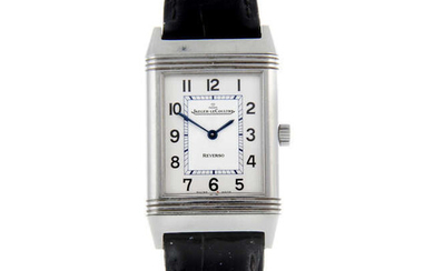 JAEGER-LECOULTRE - a lady's stainless steel Reverso wrist watch.